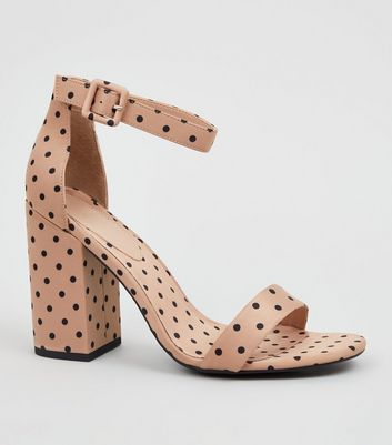 Camel Spot Satin Block Heel Sandals