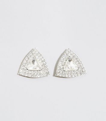 Silver Premium Gem Triangle Stud Earrings