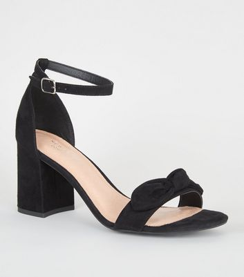 Black Comfort Flex Bow Strap Block heels