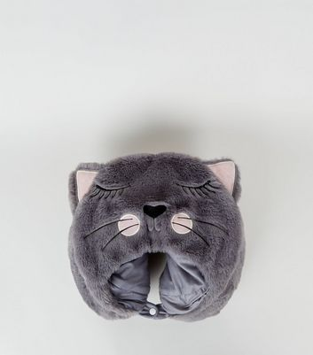 Grey Fluffy Cat Hooded Neck Pillow