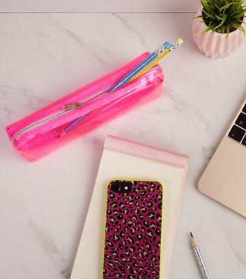 Bright Pink Neon Tinted Pencil Case
