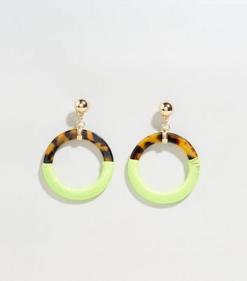 Yellow Neon Wrapped Faux Tortoiseshell Hoop Earrings