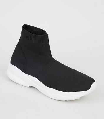 Black Knit High Top Sock Trainers | New