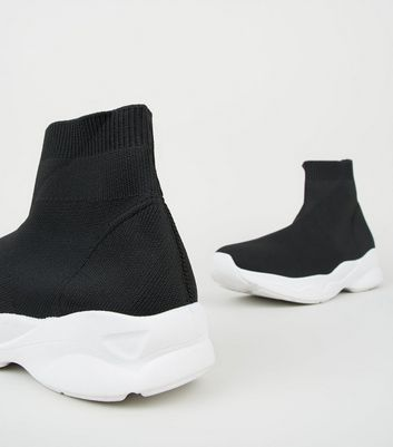 Black Knit High Top Sock Trainers   New
