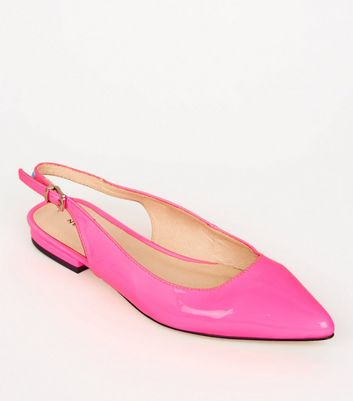 Bright Pink Neon Leather-Look Slingbacks