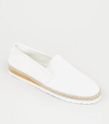 Off White Canvas Espadrille Sole Trim Trainers
