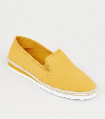 Mustard Canvas Slip On Espadrilles