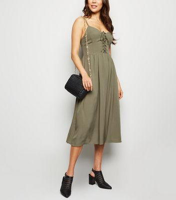 Khaki Lattice Front Midi Dress
