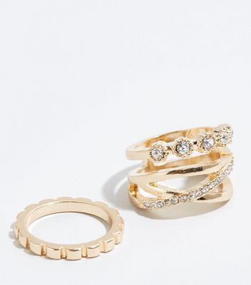 2 Pack Gold Diamanté Lattice Stacking Rings