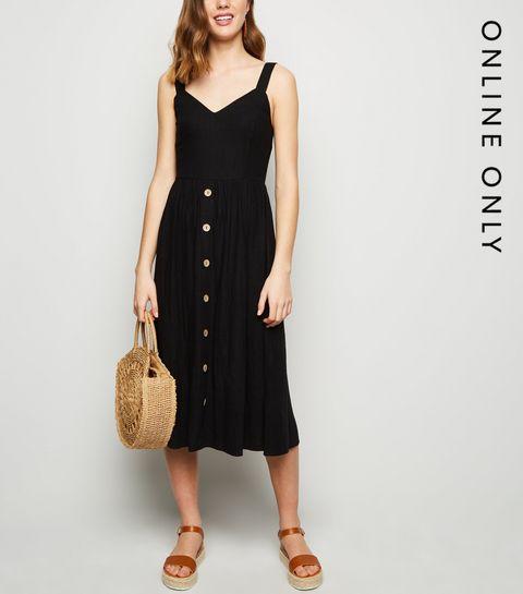 dc46f85a88 ... Black Linen Look Button Front Midi Dress ...