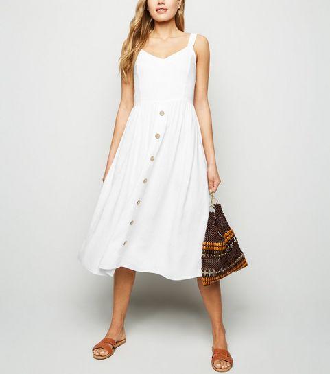 4bd5423aece ... White Linen Look Button Front Midi Dress ...
