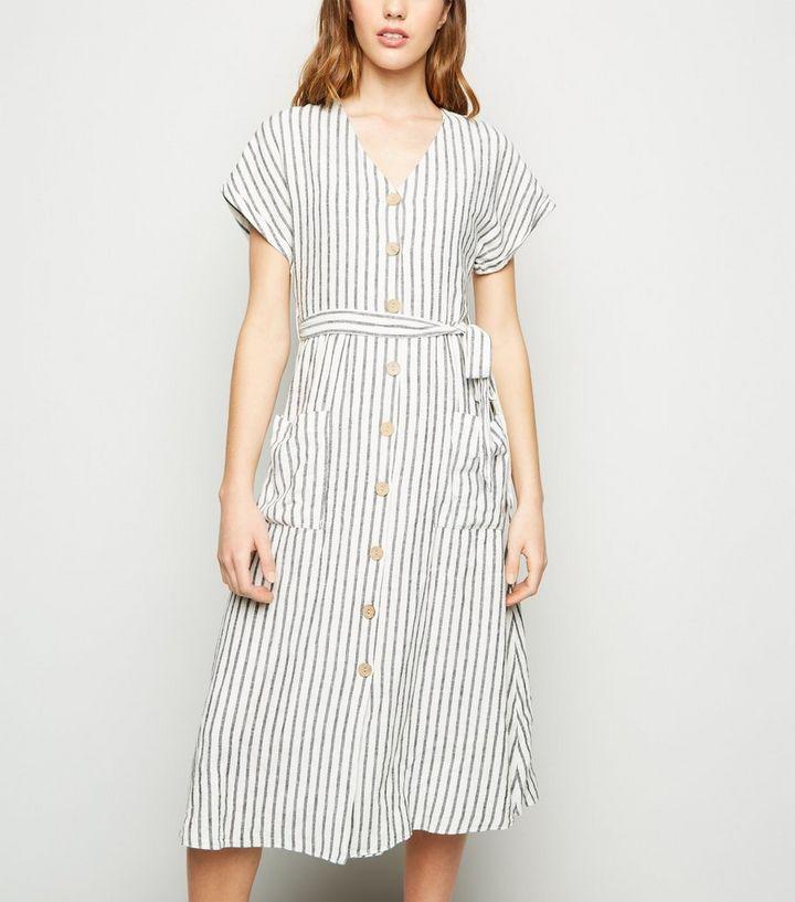 f7a7ee33fe Off White Stripe Linen Blend Midi Dress | New Look