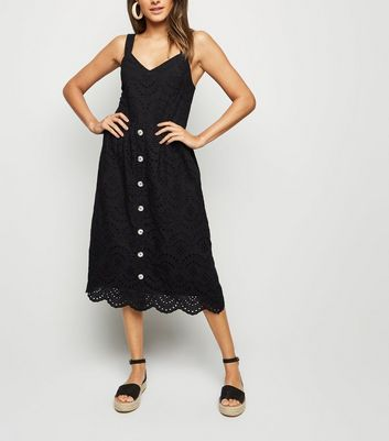 Black Broderie Button Front Midi Dress