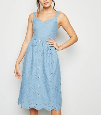 Blue Broderie Button Front Midi Dress
