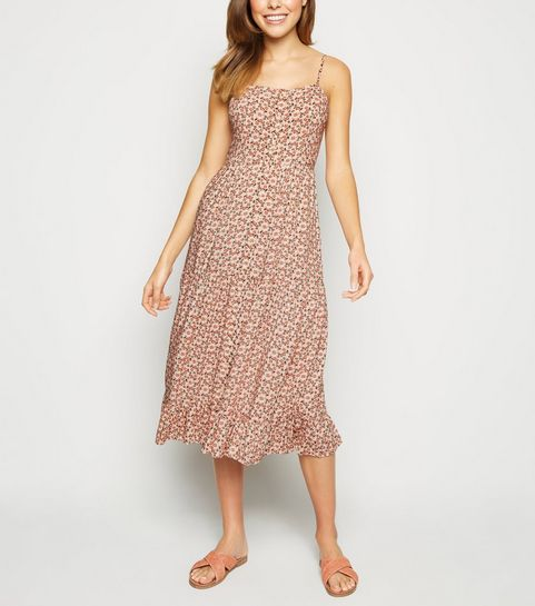 ac00b9d0d1 ... Pink Floral Tiered Button Up Midi Dress ...
