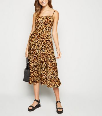 Brown Leopard Print Tiered Midi Dress