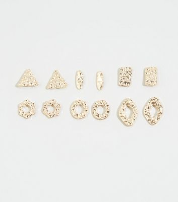 6 Pack Gold Hammered Shape Earrings