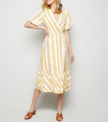 Off White Stripe Linen Blend Tiered Wrap Midi Dress