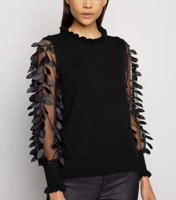 Blue Vanilla Black Leaf Mesh Sleeve Frill Neck Jumper