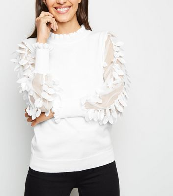 Blue Vanilla White Leaf Mesh Sleeve Frill Neck Jumper