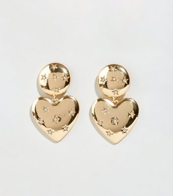 Gold Vintage-Style Dimpled Heart Earrings