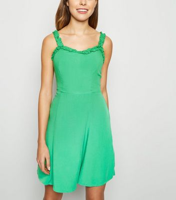 Green Ruffle Strap Mini Dress