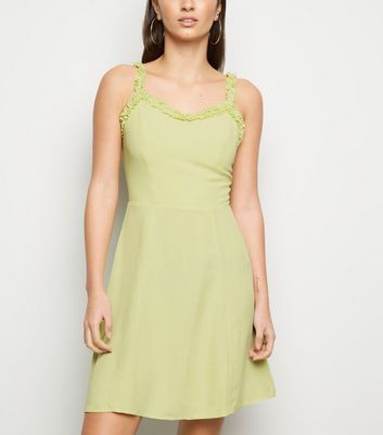 Light Green Ruffle Strap Mini Dress