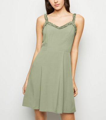 Khaki Ruffle Strap Mini Dress