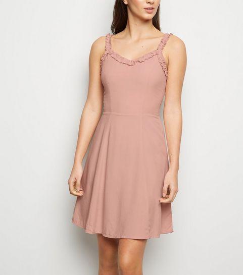 55ba761038c ... Pale Pink Ruffle Strap Mini Dress ...