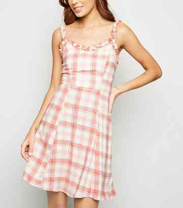 White Check Frill Trim Sundress