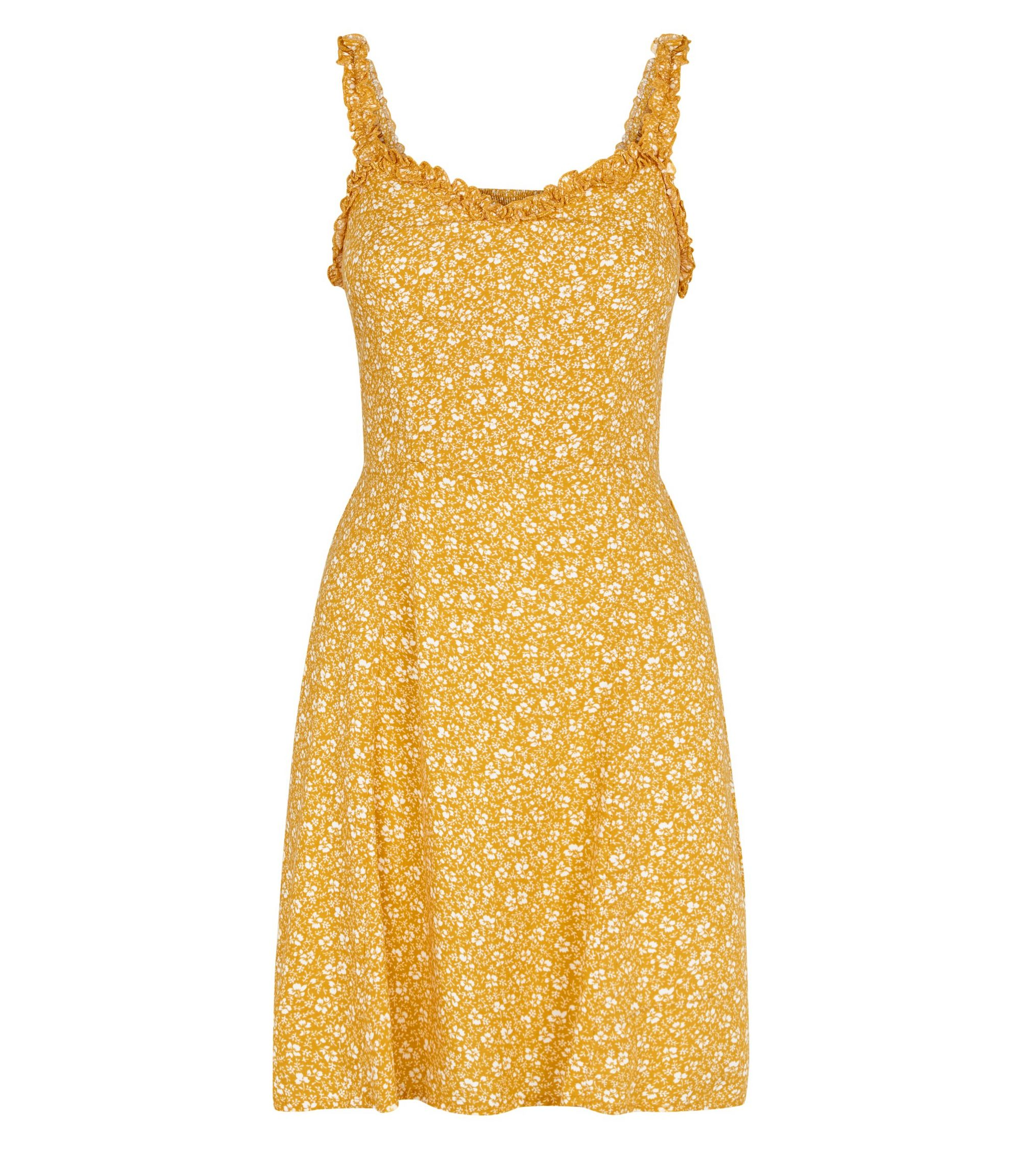 15e0852463d4 New Look mustard floral print frill trim sundress at £15.99