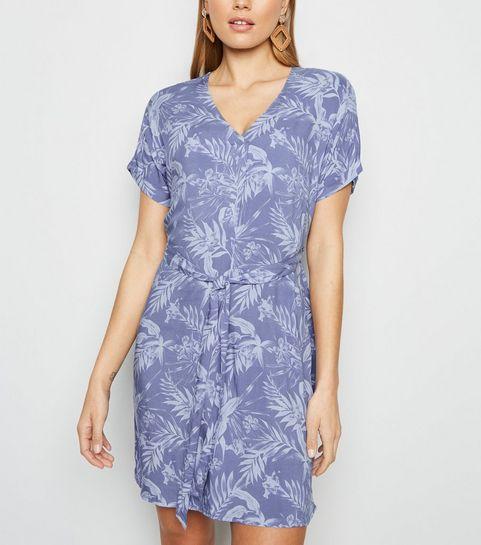 9303569dc0f ... Blue Leaf Print Tie Waist Tunic Dress ...