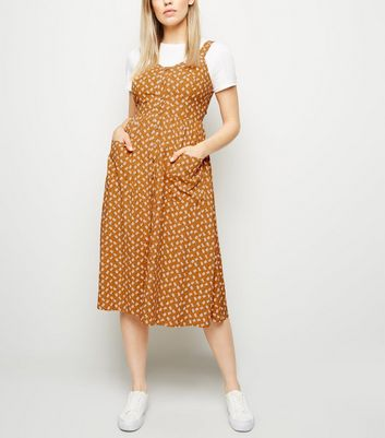 Mustard Floral Button Front Midi Dress