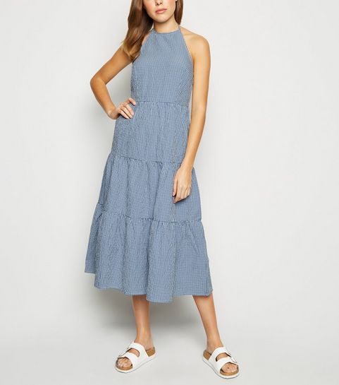 3513b7e847d0 ... Blue Gingham Halterneck Tiered Midi Dress ...