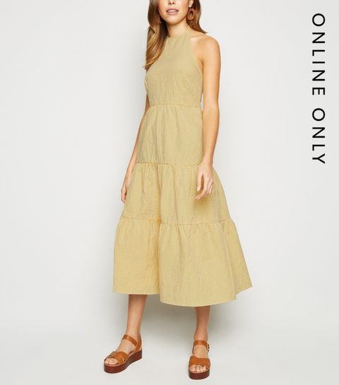 e3c89ca34b19 ... Yellow Gingham Halterneck Tiered Midi Dress ...