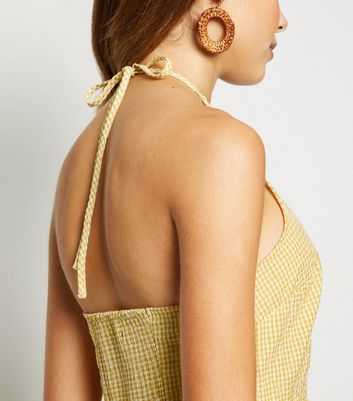 shop for Yellow Gingham Halterneck Tiered Midi Dress New Look at Shopo
