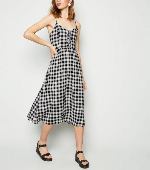 95188f00d7e ... Black Check Lace Up Front Midi Dress ...