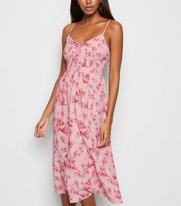 Pink Palm Print Lace Up Front Midi Dress