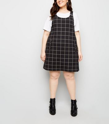 Curves Black Check Crosshatch Pinafore Dress