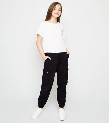 Girls Black Ripped Utility Trousers
