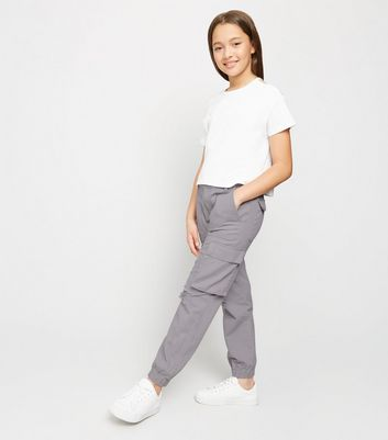 Girls Grey Ripped Utility Trousers