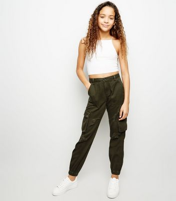 Girls Khaki Ripped Utility Trousers