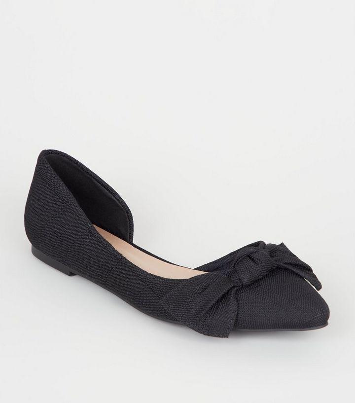 21b9c7a9921 Black Canvas Bow Front Ballet Pumps