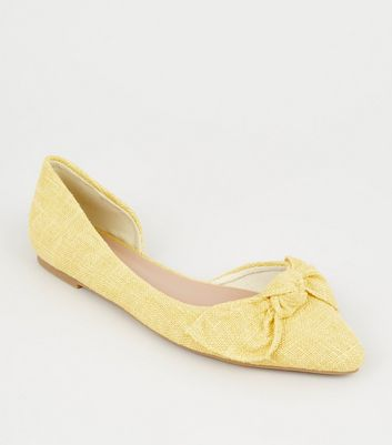 Yellow Canvas Bow Front Ballet Pumps