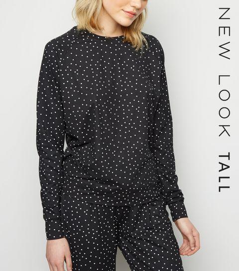 af01fc461e ... Tall Black Spot Print Soft Touch Pyjama Sweatshirt ...