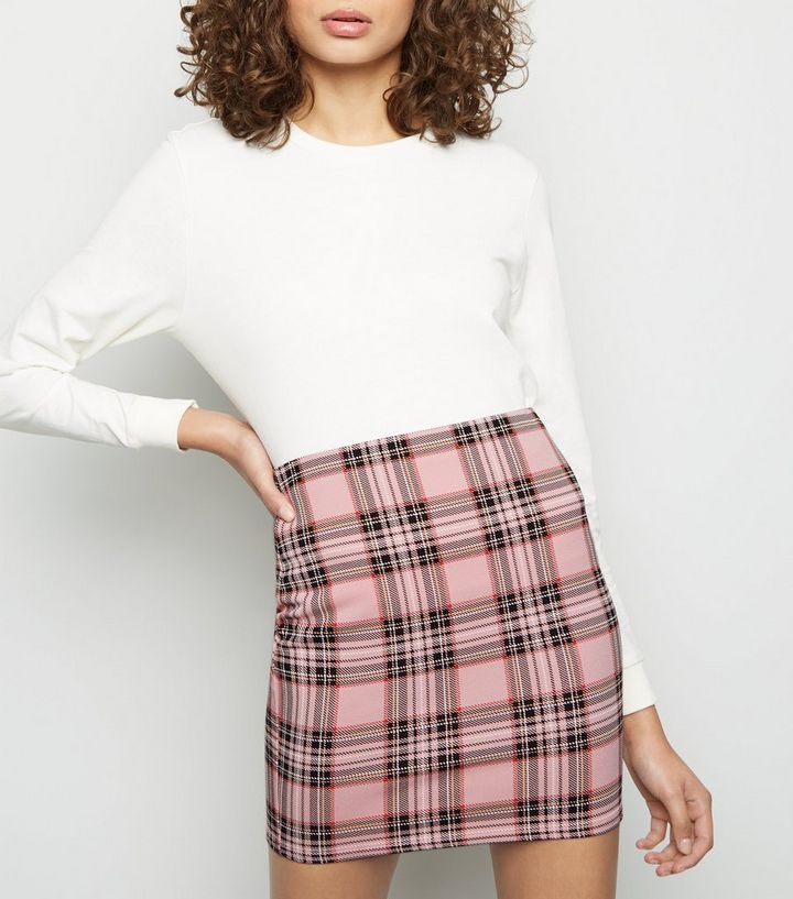 76ffad8f6f Pink Check Tube Skirt | New Look