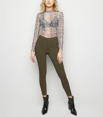 Khaki Utility Pocket Skinny Stretch Trousers