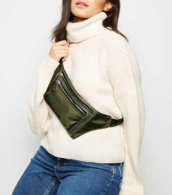 Khaki High Shine Utility Zip Bum Bag