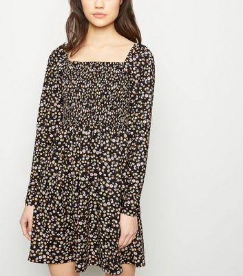 Black Floral Shirred Soft Touch Mini Dress