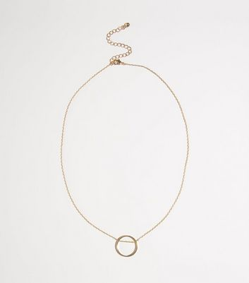 Gold Plated Ring Pendant Necklace